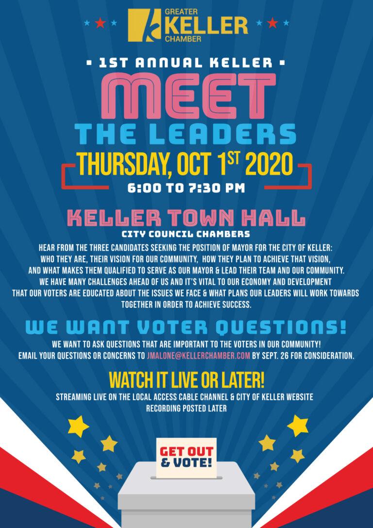 Greater Keller Chamber 2020 Meet the Leaders flyer