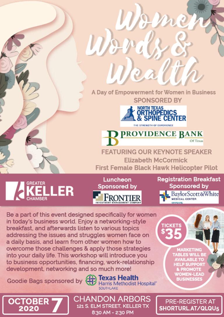 Greater Keller Chamber Women Words Wealth Workshop flyer