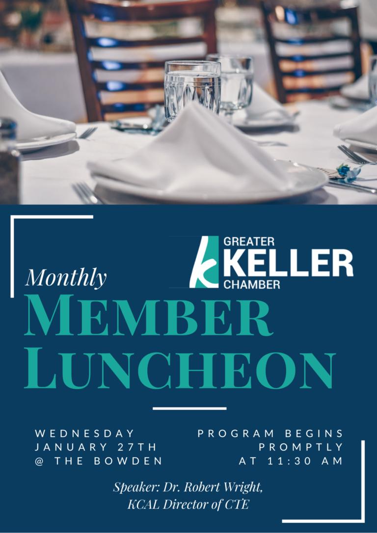 Keller Chamber Monthly Member Luncheon January 27 2021